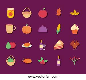 thanksgiving and corn icon set, flat style