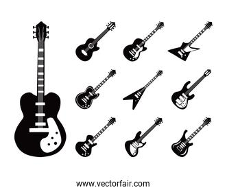 guitars instruments black and white style set icons vector design