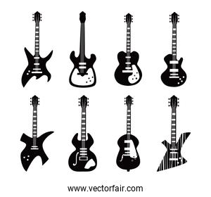 guitars instruments black and white style set of icons vector design