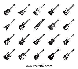 guitars instruments black and white style icon collection vector design