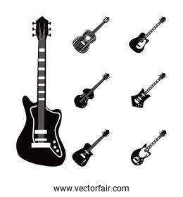 guitars instruments black and white style collection of icons vector design