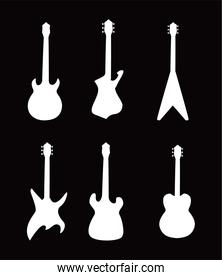 guitars instruments black and white style icons vector design