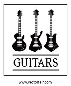 guitar electric instrument black and white style icons vector design