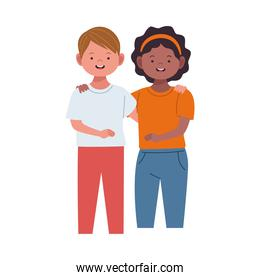 interracial couple woman afro and man caucasian avatars characters