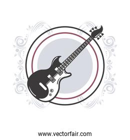 electric guitar instrument musical in circular frame