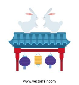 cute rabbits animals with chinese lamps hanging in arch