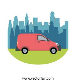 red van vehicle transport isolated icon