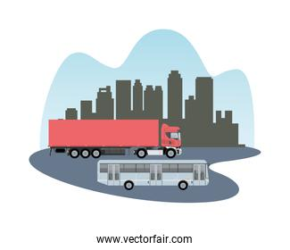 red truck and bus vehicles mockup icon