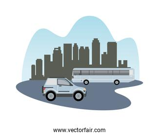 white camper and bus vehicles mockup icon