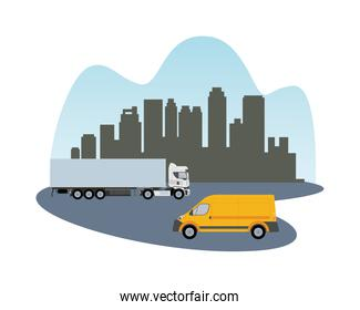 white truck and yellow van vehicle transport isolated icon