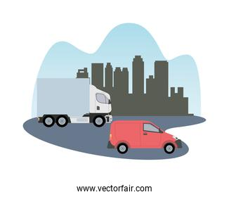 white truck and red van vehicle transport isolated icon