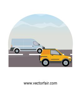 white van and yellow camper vehicles transports