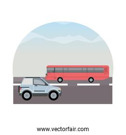 white camper and red bus vehicles mockup icon