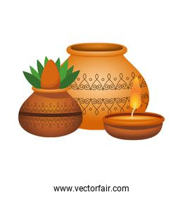 hindu ceramic pot with houseplant and candle decorative icons