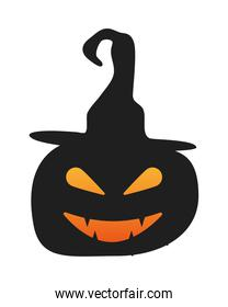 halloween pumpkin face lantern wearing witch hat