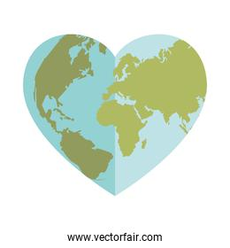 world planet with heart shape icon