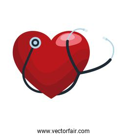 stethoscope cardio medical tool with heart