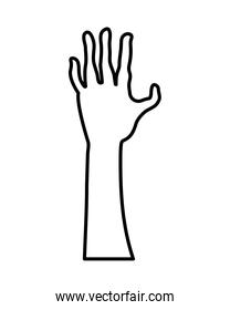zombie death hand line style icon