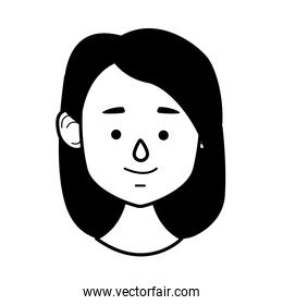 young woman female head character line style icon