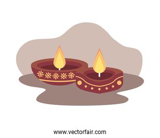 two red hindu religion candles decoration
