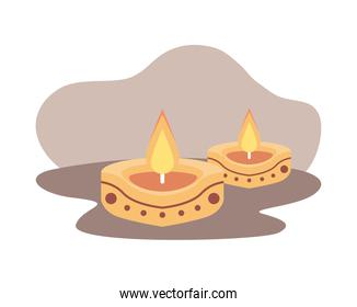 two golden hindu religion candles decoration