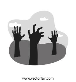 zombies death hands isolated icons