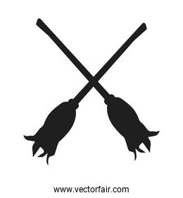 witch broom halloween isolated icon
