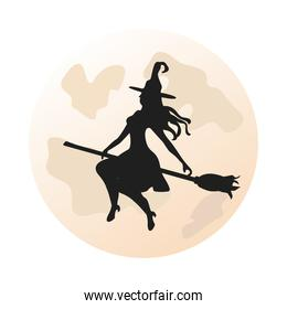 witch in broom isolated icon