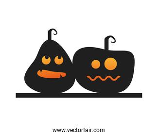 two halloween pumpkins faces lanterns icon