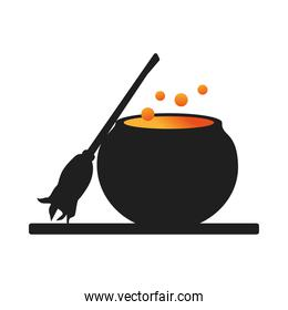 witch cauldron pot with broom