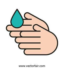 virus protection, wash your hands line and fill icon