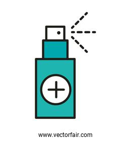 virus protection spray medical product line and fill icon