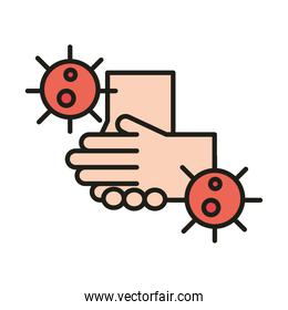 virus protection avoid touching hands infected line and fill icon