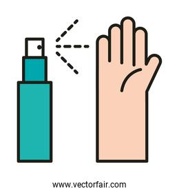 virus protection, hands sanitizer spray prevention line and fill icon