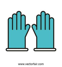 virus protection and prevention with medical gloves line and fill icon