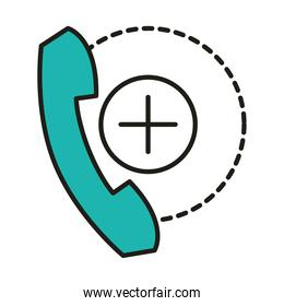 virus protection, medical service consultation telephone line and fill icon