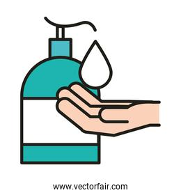 virus protection, washing hands rubbing with soap for coronavirus prevention line and fill icon