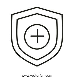 virus protection shield medical prevention line icon
