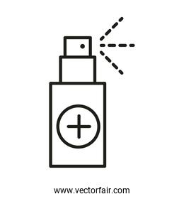 virus protection spray medical product line icon