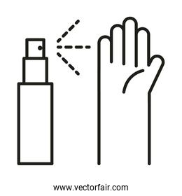 virus protection, hands sanitizer spray prevention line icon