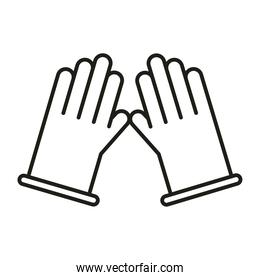 virus protection and prevention with medical gloves line icon