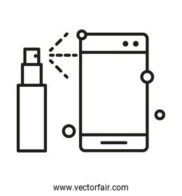 virus protection, disinfect your devices line icon