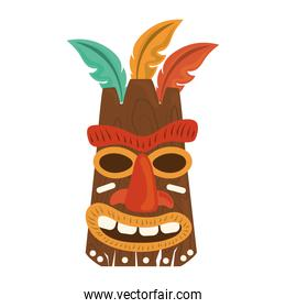 tiki tribal wooden mask with feather isolated on white background