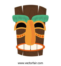 tiki tribal wooden ancient mask isolated on white background