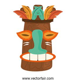 tiki tribal wooden mask tropical isolated on white background