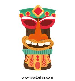 tiki tribal wooden statue isolated on white background