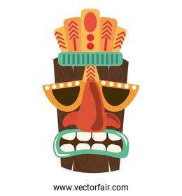 tiki tribal wooden mask ornament isolated on white background