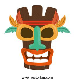 tiki tribal wooden mask exotic feather isolated on white background