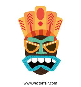tiki wooden mask primitive ancient isolated on white background