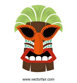 tiki tribal wooden tropical mask isolated on white background